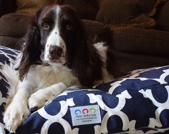 Navy Quatrefoil Dog Bed    Personalized Small Medium Dogbed in Blue    Custom Pillow Cover by Three Spoiled Dogs