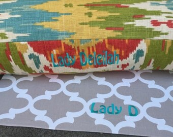 Scarlett Dog Bed * Large * Personalize with your pups Name or Nickname * Ikat * Modern * Custom Pillow * Vibrant Colors