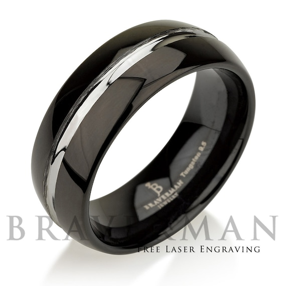 Tungsten Wedding Band, Tungsten Band, Mens Wedding Band, Black Ring, Silver Inlay, Two Tone Ring, Silver Band
