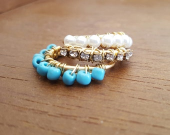 Gold stackable beaded rings