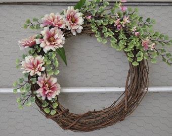 Spring Grapevine Wreath | Spring Front Door Decor | Spring Wreath | Monogram Wreath