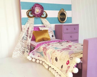 18 inch doll Paris bedding, 18 inch doll bedding, purple doll bedding, doll bedding, doll accessories, 18 inch doll bed