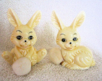 Vintage Bunny Rabbit Figurines, Wonderfully Weird and Ready for Easter and Spring!