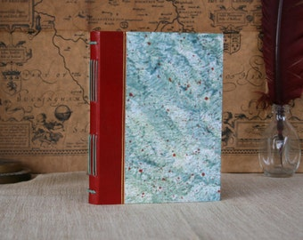 Leather hardcover journal, red leather bound notebook, small journal, handmade paste-paper journal