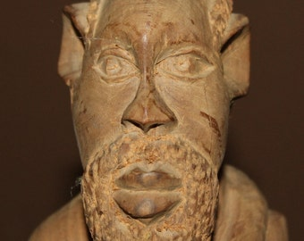 Antique Hand Carved Wood African Male Statuette