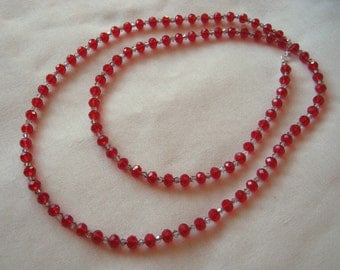 "Handmade Art Deco style extra long red and grey necklace with crystal glass beads - 36"" long approx - great for Valentine's Day!"