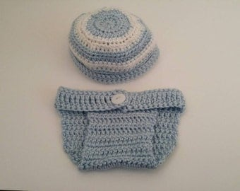 Baby blue and white diaper cover and hat set