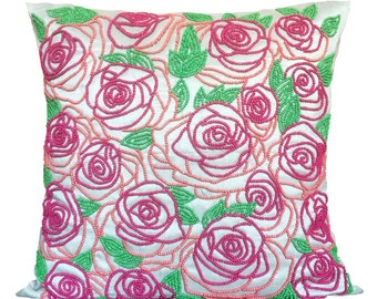 Rose Embroidery Pillow Cover Pink Roses Pillow Silver Grey Pink Beaded Pillow Throw Pillow Sizes 14x14 16x16 18x18 20x20 22x22
