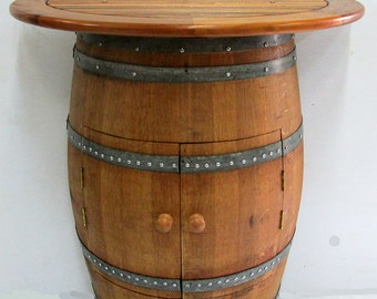 """Cabinet Style Wine Barrel Console Table With Teak Wood Table Top,36""""W x 36""""H x 13""""D, CTT-26C"""