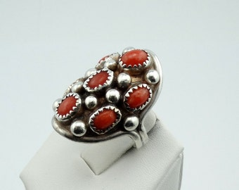 "Vintage Signed ""B KOUCHINE"" Coral and Sterling Silver Ring Southwest Native American Collectable #CORAL7X-SR2"