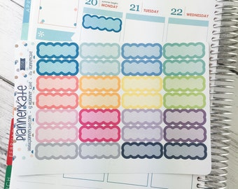 S358 || SCALLOP Label for Planner (28 Removable Matte Stickers)