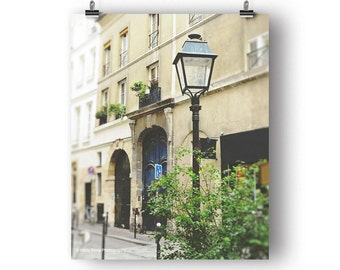 Paris Photography, Wall Art Print, France Photo, Paris Decor, Vertical Art, Le Marais, Street Scene, Lamp Post, Door Picture, Parisian Art
