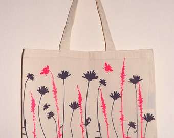 Wildflowers & Bees Screen Printed Tote Bag
