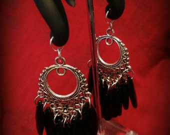 0g black and silver dangle earrings