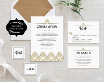 Art Deco Wedding Invitation Template Set, Printable Wedding Invitations, Gold and Black Wedding Invitation - Editable Text - Art Deco Shell