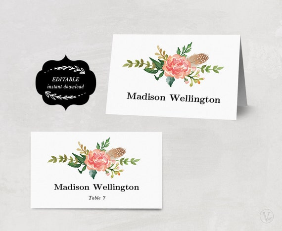 printable wedding place cards and escort cards both by vinewedding