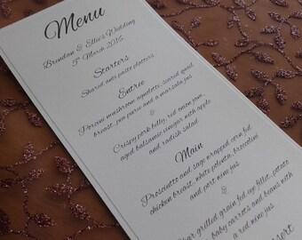 White Table Menus - Weddings, Engagement and Birthday Celebrations