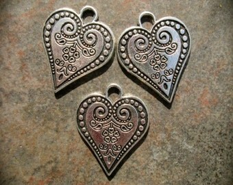 Filigree heart charms Package of 3 charms Double Sided Scroll design charms