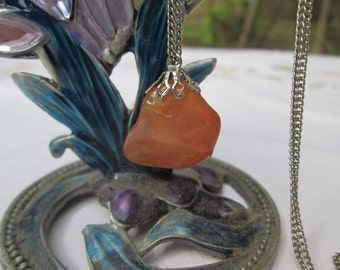 Amber Coloured Stone Pendant & Chain