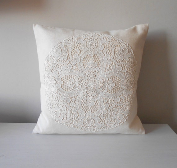 Shabby Chic Pillows White : Creamy White Pillow Cover Shabby Chic Pillow French Country