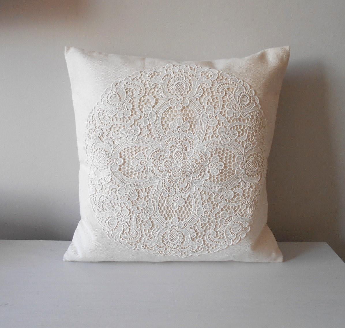 Shabby Chic White Throw Pillows : Creamy White Pillow Cover Shabby Chic Pillow French Country