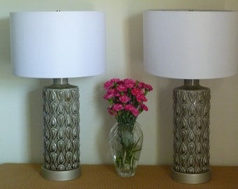 Textured Gray Ceramic Table Lamps