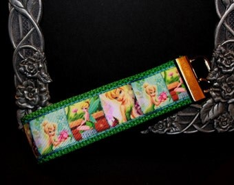 Tinkerbell keyring, Fairy keychain, ribbon keychain, ribbon keyring