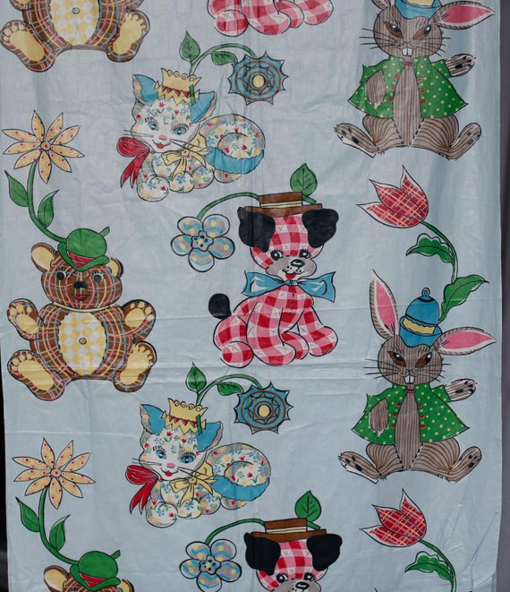 Light Blue 50 S Chintz Fabric W Calico Cats And Dogs