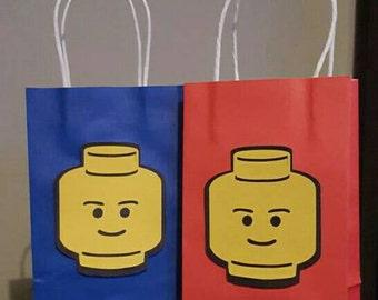 Lego head party favor bags