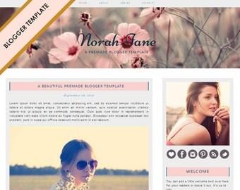 Blogger Template - Premade Blog Design - INSTANT DOWNLOAD - Norah Jane Theme