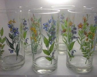 Vintage Signed Floral Crisa Drinking Glasses- Set of 6