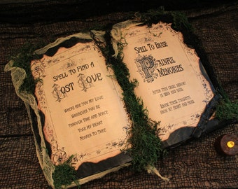 """Halloween Spell Book, """"Spell To Find A Lost Love"""" and """"Spell To Erase Painful Memories"""", Halloween Props, Halloween Decor, Spells, Grunge"""