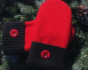 Recycled Sweater Mittens - Red and Black Wool Recycled Sweater Mittens - RSM00025