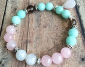 Moonstone, Rose Quartz & Aquamarine Fertility Bracelet. IVF Infertility Healing Bracelet. Handmade Gemstone Healing Bracelet.