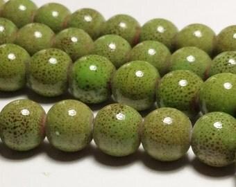 10pcs Green Porcelain Beads - Handmade Artisan Rustic Boho Bohemian 10mm Beads - G33