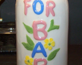 Vintage Ceramic Hand Painted Baby Bottle Bank  MCM 1970s Gift
