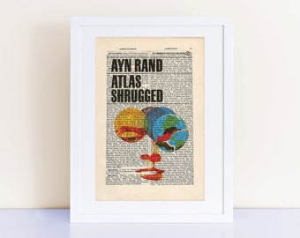 Atlas Shrugged by Ayn Rand Print on an antique page, book cover art