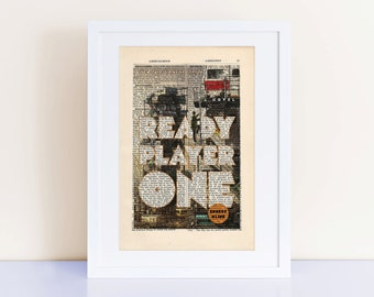 Ready Player One by Ernest Cline Print on an antique page, book cover art