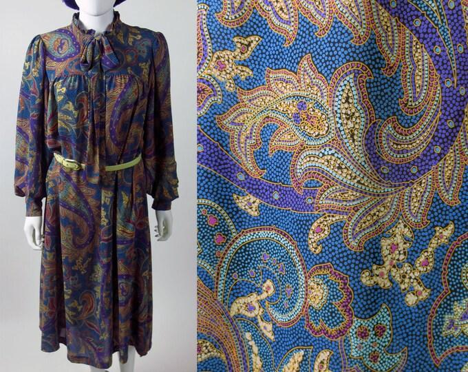 70s georgette Paisley printed Chez California ruffled oversize midi length secretary dress