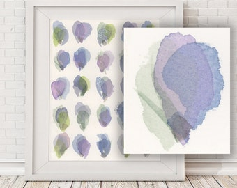 Watercolor flower painting print, abstract - lilac and lime