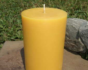 "100% Beeswax 5"" Round Pillar Candle  - Free Shipping! -"