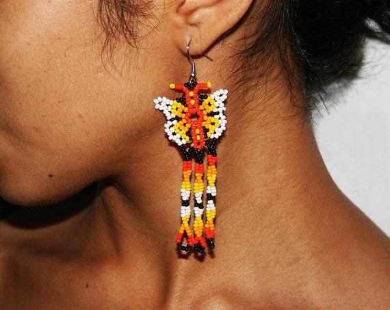 Beaded Butterfly Earrings, Huichol Earrings, Huichol Beadwork, Native American Beaded Earrings, Seed Bead Earrings, Butterfly Jewelry