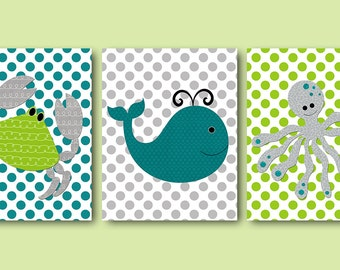 Sea Wall Decor Crab Whale Octopus Print INSTANT DOWNLOAD Art Digital Art Baby Boy Nursery Download Digital Download Art set of 3 8x10 11X14