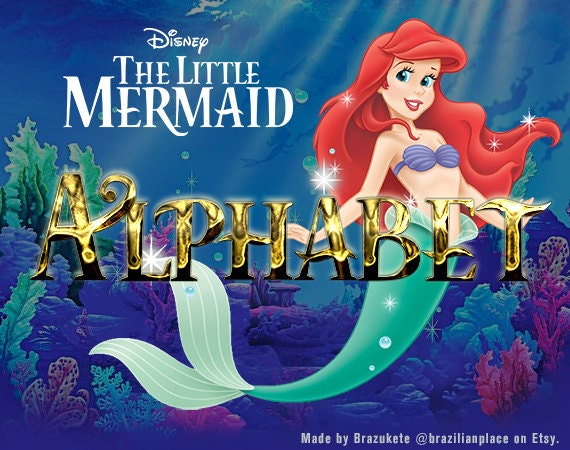 SALE Alphabet Little Mermaid Disney Ariel Gold Clip Art Font