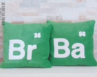 Breaking bad Set of 2 green elements cushion Handmade - Plush Pillow in soft polyester fleece - Handmade