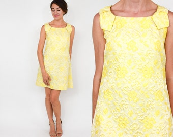 60s Yellow Floral Party Dress | Metallic Floral Brocade Mini Dress | Small