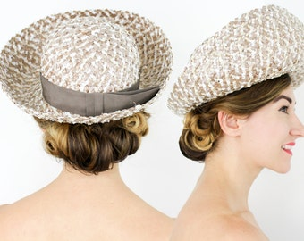60s Beige and White Straw Hat | Evelyn Varon