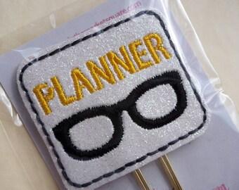 Yellow Planner Nerd Geek Glasses Paper Clip