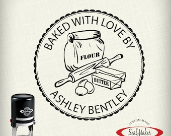 """From the kitchen of Stamp, custom self-inking stamp - """"Baking Essentials"""""""