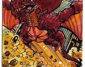 Destroyah #2 Personal Sketch Card Giant Monsters Kaiju Collectors Item Local Art Unique Gift